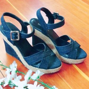 BCBGeneration Denim Wedge Espadrilles Sandals